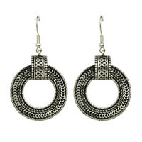 Vintage Style Antique Silver Circle Round Drop Dangle Earrings E1086