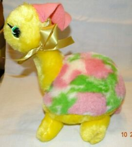 "VINTAGE RUSHTON PLUSH GIRL TURTLE 9"" pink, yellow, green from 95 yr old estate"