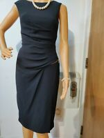 NEW COAST FITTED RUCHED EMBELLISHED DRESS SIZE UK 8 US 4 BLACK 71% TRIACETATE