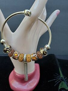 "CHAMILIA Sterling Silver flex bangle Bracelet 9 ""CHAM 925"" Charms fall color CZs"