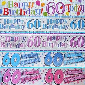 60th GIANT BIRTHDAY BANNERS - MULTI COLOURED - PARTY DECORATIONS