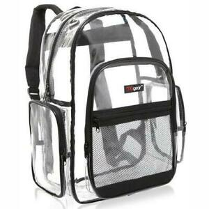 Clear Transparent See Thru School Security PVC School Backpack with Black Trim