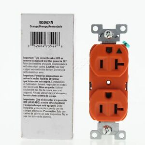 Eaton Industrial Orange ISOLATED Ground Duplex Outlet Receptacle 20A IG5362RN