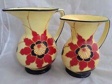 2 x 1930s  Czechoslovakian Art Deco handpainted Jugs vases - DITMAR URBACH
