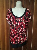 Women's Size XL Black & Red Ruffle Cap Sleeve Top Blouse by W Wrapper