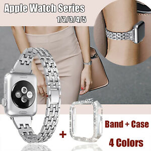 Women Bling Band for Apple Watch Series 5 4 3 2 1 iWatch 38mm 40mm Strap + Case