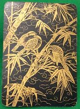 Playing Cards 1 Single Swap Card - Antique Wide Lacquer JAPANESE BIRDS on BAMBOO