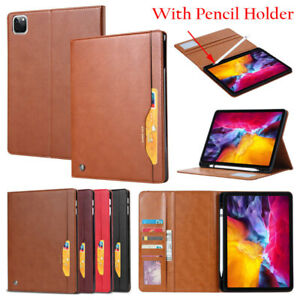 """For iPad Air 10.9 Pro 11"""" 12.9"""" 2021 Smart Stand Wallet PU Case Cover Pen Holder"""
