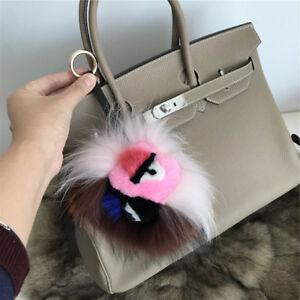 Bicolor Real Mink and Fox Fur Monster Bag Bug Charm Pompom Fur Ball Keychain