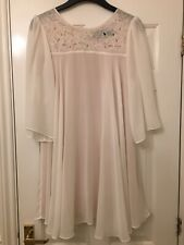 H&M LADIES CREAM FLOATY LINED TUNIC DRESS - Eur 38 VGC