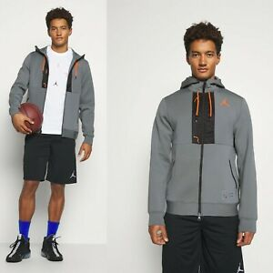 Mens Air Jordan Hoodie Full Zip MJ Logo Hoody Performance Grey Large RRP £69.99