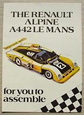 RENAULT ALPINE A442 LE MANS Cut Out Car Model Brochure c1976