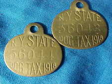 Pair 1918 Ny State Dog Tag Licenses Consecutive Numbers