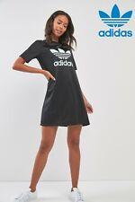 Adidas Originals Light Green Trefoil Logo Black Tee Dress Sizes UK 8-16 New 818