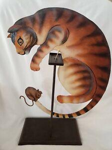 Vintage Folk Art Metal Cat Kinetic Sculpture Chases Mouse Outsider Art Balance