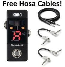 New Korg Pitchblack Mini PB01-Mini Guitar Pedal Tuner! FREE Hosa Cables!