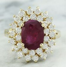 3.53 Carat Natural Ruby 14K Solid Yellow Gold Luxury Engagement Ring
