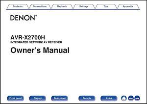 Denon AVR-X2700H AV Receiver Owner's Manual - Operating Instructions -Full Color