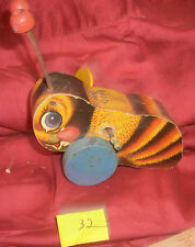 Vintage 1950's Fisher Price Buzzy Bee Wooden Pull Toy Retro  32.