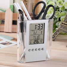 Digital LCD alarma reloj escritorio Pen Lápiz Titular Diseño termómetro calendario Displ