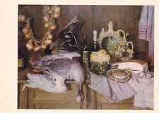 RARE Evgeny Volobuyev Still life food wild ducks folk Russian Soviet postcard