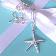 Tiffany & Co Elsa Peretti Silver XL Large Starfish Pendant Oval Link Necklace