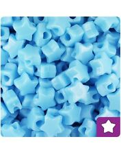 50 Baby Blue Opaque Star Shape 13mm Top Quality Pony Beads *BUY 2 GET 1 FREE*