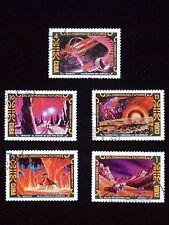 A.Sokolov, El Cosmos Del Futuro, 5 vintage postage stamps, 1974
