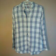 Hilfiger Denim Womens Size XS White Blue Plaid Button Down Shirt
