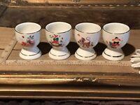 "4 Vintage Porcelain Egg Cups, Childs Cartoons Nursery Designs  2 1/4""x1/7/8"""