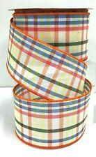 """Linen Check Wired Ribbon~Orange Multi Color~2 1/2"""" W x 10 yd"""