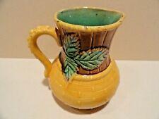 Antique Majolica Pitcher - Leaf and Basket Weave Motif