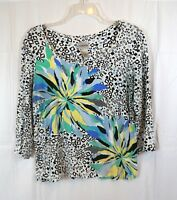 Chico's 3/4 Sleeve Abstract Floral Print Size 1 Multi Color Blouse Top