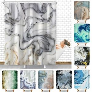 Marbled Texture Waterproof Bathroom Home Decor Shower Curtain Set With 12 Hooks