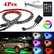 7 Color 4PCS RGB LED Lights Strip Trim Car Underbody Under Glow Body System Kit