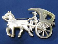 Vtg Horse Carriage Hand Carved White One Piece Mother of Pearl Shell Pin Brooch
