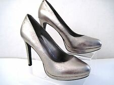 "BCBGeneration ""Tinas"" Silver Metallic Leather Stiletto Heels Size 7 B / 37"
