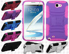 For Samsung Galaxy Note II 2 HYBRID KICK STAND Rubber Case Phone Cover