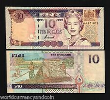 Fiji 10 Dollars P98 B 1996 Queen Aa Prefix Boat Bird Unc World Money Bank Note