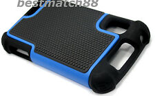 for Motorola atrix 4g mb860 rugged case triple layer hard pc & rubber blue black