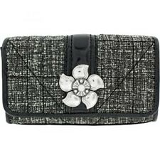 New Brighton Chloe Clutch Small Tweed Pouch Black Cream NWT