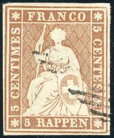 SCHWEIZ 1854, Strubel, MiNr. 13 I b, gestempelt, gepr. Abt, Mi. 250,-