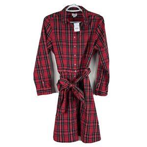 J Crew Red Tartan Plaid Stewart Dress Womens Size 6 Tie Waist Brand New $89