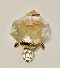 New Daniel Hand made Bohemia Crystal & Gold Bath TURTLE Figurine Paperweight NIB