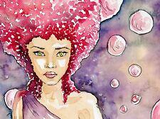 Impresión arte cartel Pintura Dibujo Retrato Redhead Girl Paint Splash lfmp1101