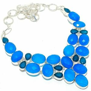 """Blue Sapphire Gemstone 925 Sterling Silver Jewelry Necklace 16-18"""""""