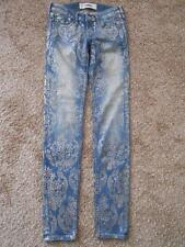 HOLLISTER Metallic Gold Floral Low Rise Stretch Skinny Jeans Denim JR Womens 0R