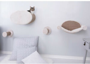Wall Mount Cat Playground Includes 2-Steps Condo Hammock