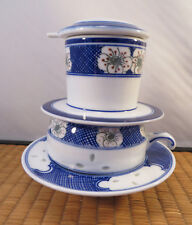 Chinese Porcelain Riceware Tea Brewing Cup & Strainer Set Blue White Green China