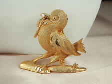 Verrrry Cute Victorius Early Bird Gets The Worm Brooch Vintage 1960s-70s  138A4